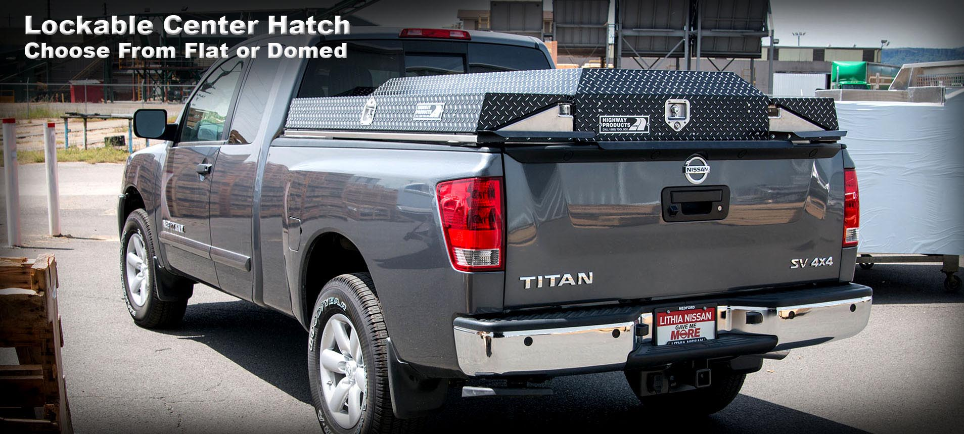 Highway Products Pickup Packs come with a lockable center hatch. Choose from 2 different styles: flat or domed